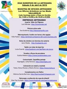 Cartel Valladolid. Sábado 6 de abril. LOS OFICIOS ARTESANOS EN LA MODA. Días Europeos de la Artesanía