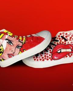 Lichtenstein 3 zapatillas pintadas a mano